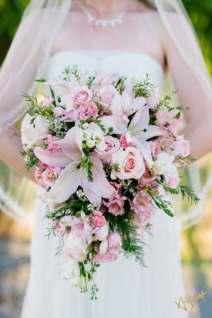 Bridal bouquet small cascade light pink lilies and pink roses beautiful pallet two rings - Flowers good luck bridal bouquet ...