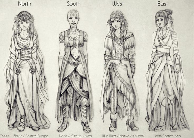 Costumes: North, South, West, East by *vinegar on deviantART.
