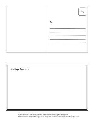 Postcard template....create a postcard for every field trip we go on & send to Daddy!!!