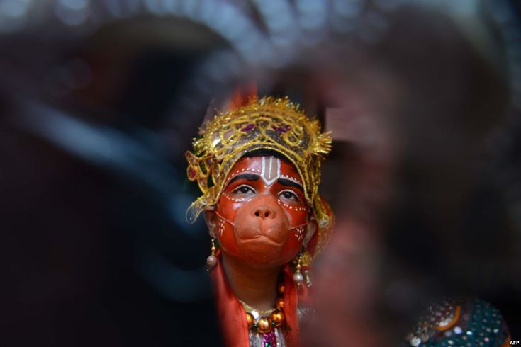 November 26, 2017:  A child dressed as Hindu god Lord Hanuman waits to perform during a fancy dress competition at a school in Amritsar, India.