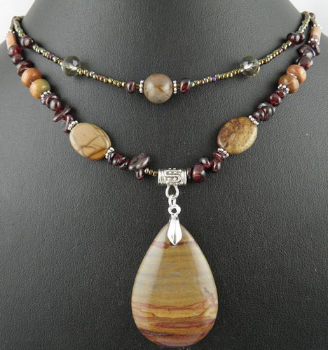 Natural Creek Jasper gemstone pendant,Garnet beads handmade necklace