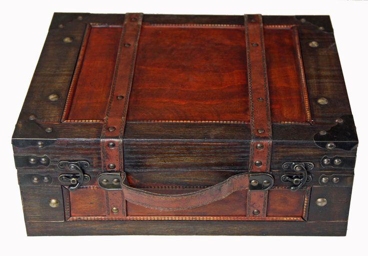 Antique Style Brown Wooden Suitcase Box Hamper Trunk
