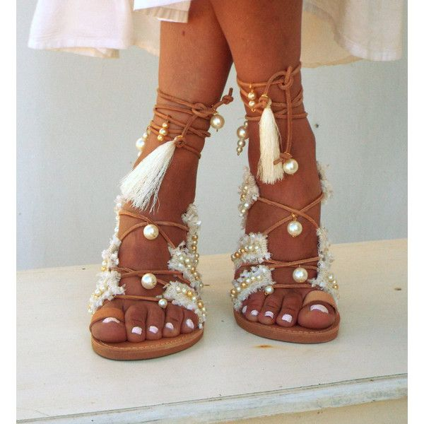 Afrodite Bridal flat sandals, White Beach Wedding Sandals, Fringe,... (235 CAD) ❤ liked on Polyvore featuring shoes, sandals, white leather sandals, flat gladiator sandals, bridal sandals, flat shoes and white gladiator sandals