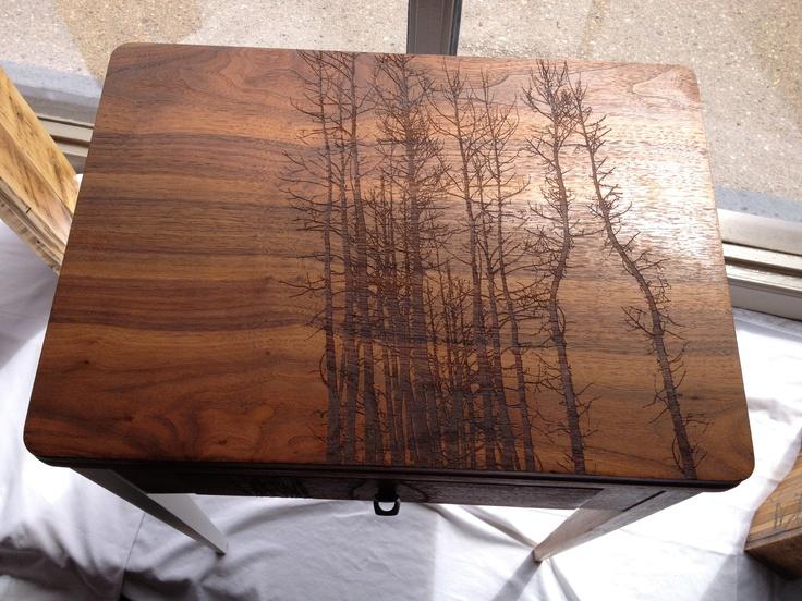 """vintage imprint table"" - repurposed sewing table laser engraved."