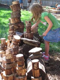 """Use wood scraps for outdoor blocks - talk to your local sawmill, wood yard, or arborist! Guaranteed they can hook you up if you explain what you're doing. This would be a wonderful idea for schools, playgrounds, etc. No reason you couldn't get the kids involved and even paint some of the """"blocks"""" with non-toxic paints as well."""