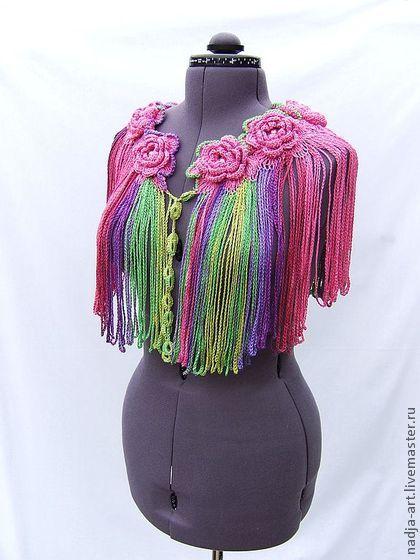 Объемный Вязаный Крючком Шарф Воротник Яркие Розы #crochet_flowers_scarf
