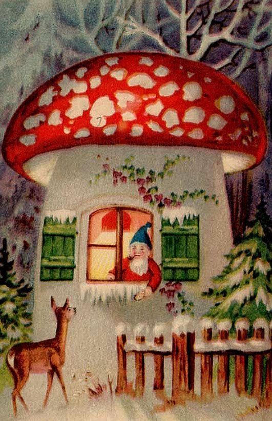 freaking love this vintage Tomte mushroom holiday card!