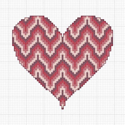 Bargello heart cross stitch chart