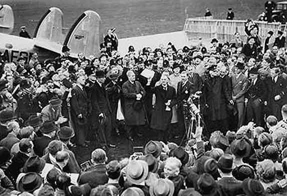 September 30, 1938. The Munich Agreement: 'Peace for our Time'. Neville Chamberlain announces he has come to an agreement with Hitler at Munich.