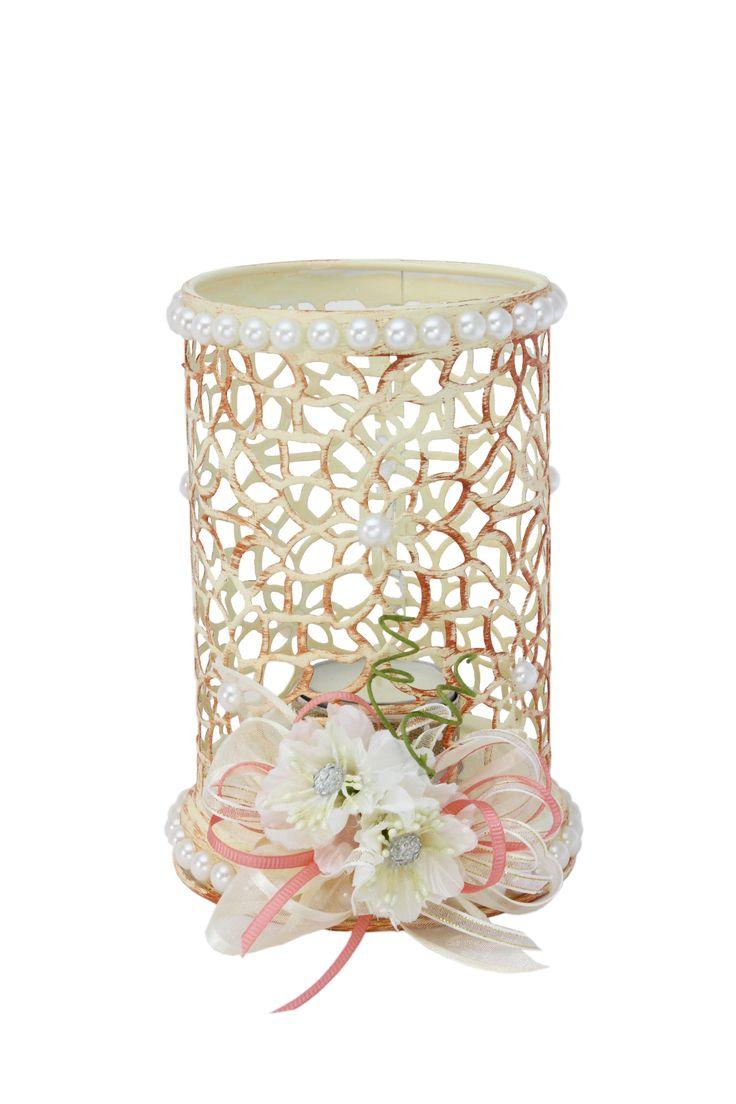 Quinqué Vintage Con Flores De Cristal