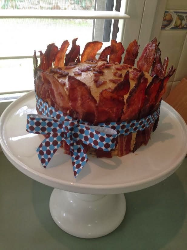 Maple Bacon Cake.  Three Layered Paleo Spice Cake with Cashew Maple Frosting wrapped in Candied Bacon!!