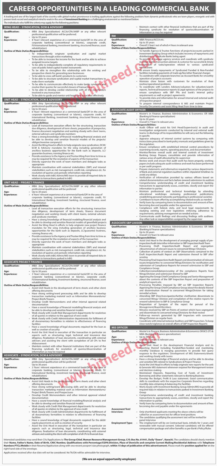 Leading commercial bank jobs wing head rm unit head and other jobs