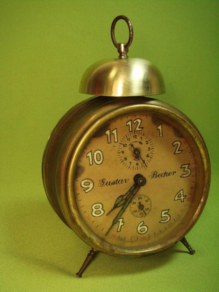 Old Antique Alarm Clock Gustav Becker