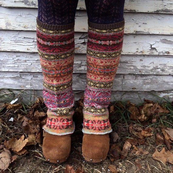 Recycled sweater legwarmers.