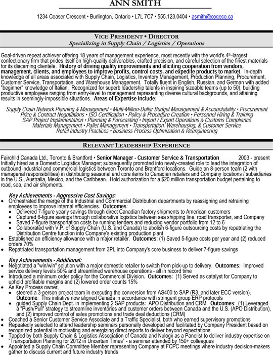 Vice-President (VP) or Director of Operations, Supply Chain, Logistics Resume Sample