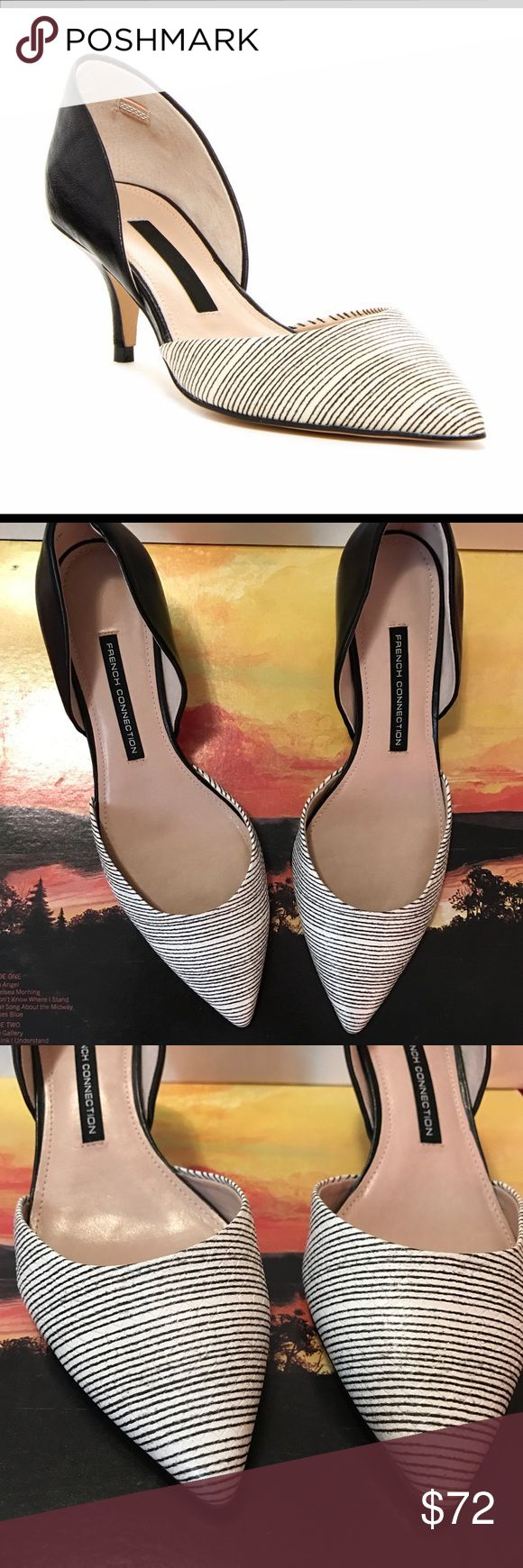 """FRENCH CONNECTION Effie Kitten Heel Pump 8 MINT FRENCH CONNECTION Effie Kitten Heel Pump Size 8 US. Gorgeous Black and White Detailing. Pointed Toe. Nearly New Condition. Heel Approximately 2"""". All Reasonable Offers Are Welcome. $120 French Connection Shoes Heels"""