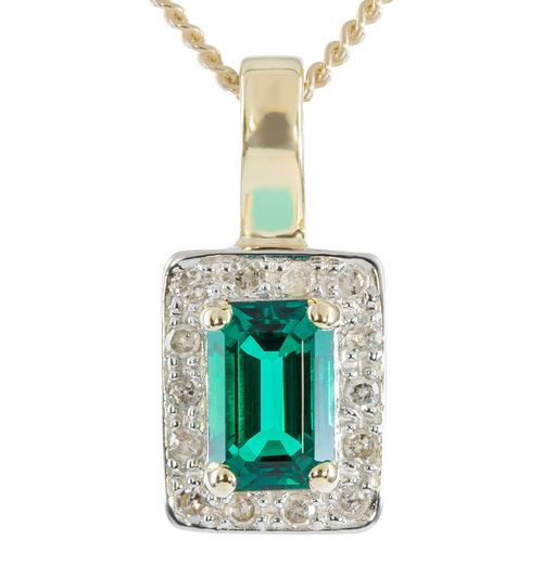 9ct Yellow Gold Diamond  Created Emerald Enhancer Pendant only $94 - purejewels.com.au