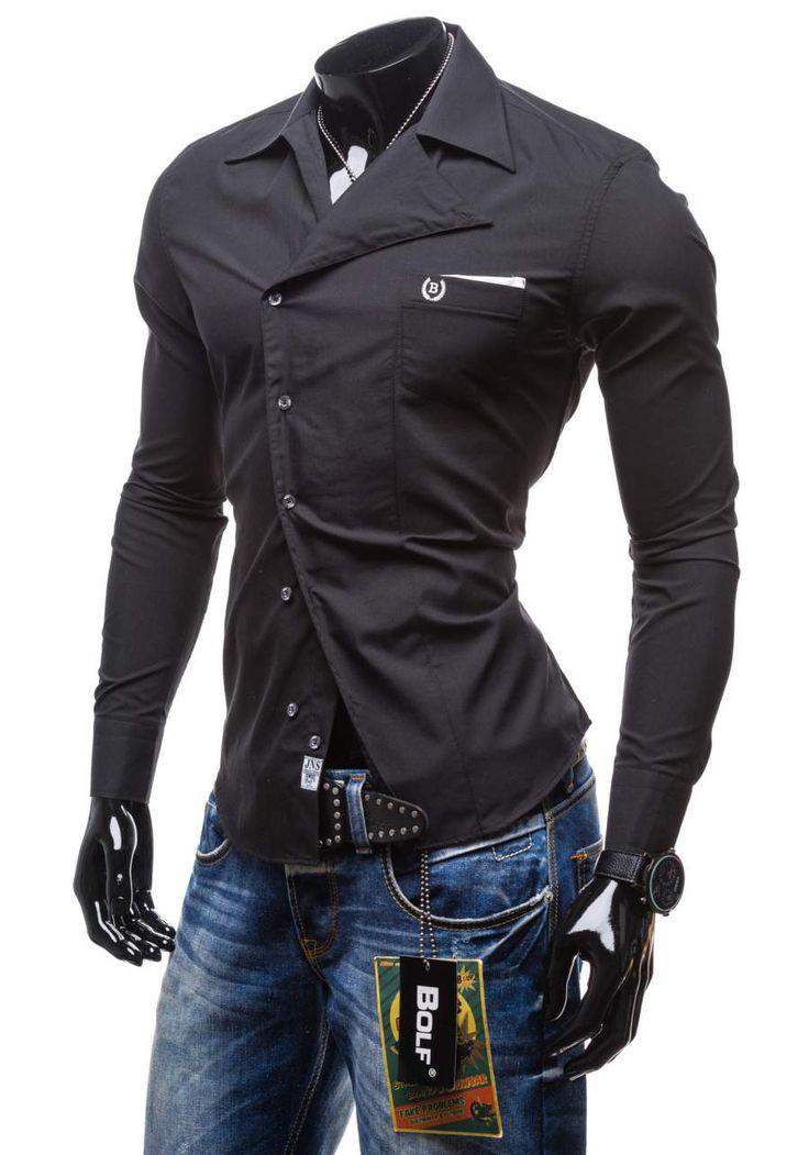 Czarna koszula męska elegancka z długim rękawem Bolf 5739   sklep internetowy z odzieżą i obuwiem www.denley.pl