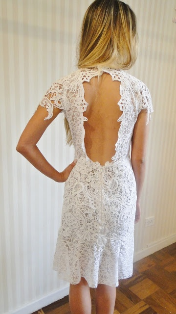 Lace short dress with keyhole back. Perfect rehearsal dinner dress. Lethicia Bronstein.