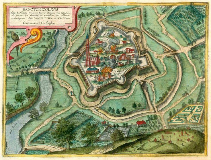 Antique map - Bird's-eye view of the fortified city of Törökszentmiklós by Braun and Hogenberg | San Nicolás