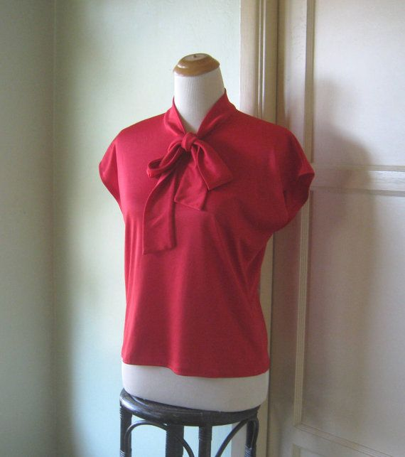 1970s Red Neck Tie Blouse - Beautifully Draped, Dolman Sleeve Pussy Bow Top - Crimson True Red XL Pussy Bow Shirt - Large Red Office Blouse