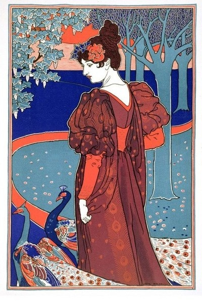"""sealmaiden:    Louis John Rhead (1858-1926)  La femme au paon 1898  Art nouveau poster """"Woman with Peacocks"""", from """"L'Estampe Moderne,""""  Published in Paris 1897-99  Lithograph  (Source)"""