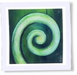 'Koru' is the Maori word for the new unfurling fern frond. The pattern is used in many Maori and New Zealand art forms and symbolizes new life, regeneration, growth, strength and peace.