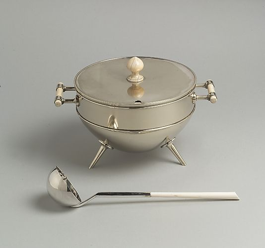 Christopher Dresser (British, 1834–1904). Tureen and Ladle, ca. 1880. Manufacturer: Hukin & Health. British, London. The Metropolitan Museum of Art, New York. Promised gift of Paul F. Walter, 1991 (L.2004.64.1a–c)