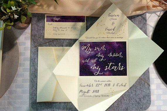 Galaxy wedding invitation | Custom stars wedding invitation | Constellations wedding invitation | Origami wedding invitation https://www.etsy.com/au/listing/511693290/wedding-invitation-galaxy-invitations