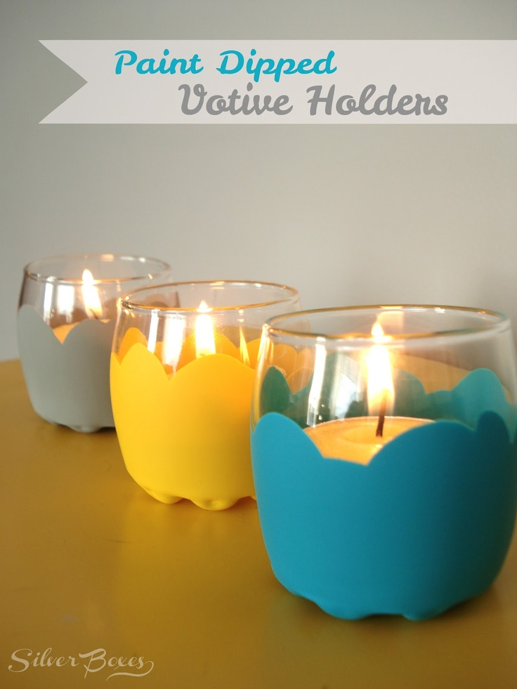 Silver Boxes: Paint Dipped Votive Holders