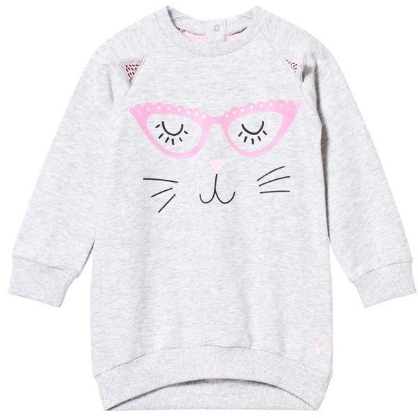 Joules - Grey Marl Cat Face Print Sweat Dress - Babyshop.com ❤ liked on Polyvore featuring dresses, joules dresses, cat pattern dress, cat dress, gray dress and pattern dress