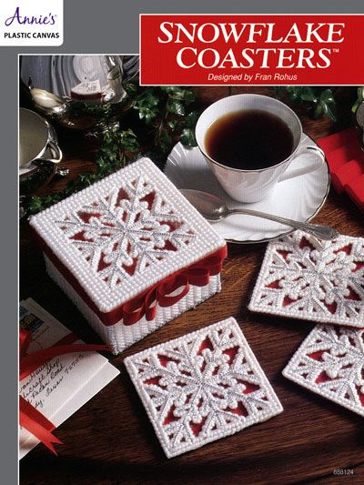 """Bring the beauty of a fresh-fallen snow inside with these pretty snowflake coasters. Each design is stitched on 7-count plastic canvas using worsted-weight and metallic yarn. Size: Coaster – 3 7/8"""" square; Box – 2 3/4"""" x 4 1/2"""" x 4 1/2..."""