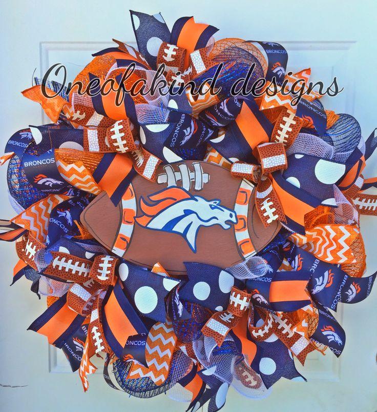 Denver Broncos deco mesh wreath
