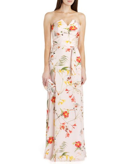 Botanical bloom print maxi dress pale pink dresses for Print maxi dress for wedding