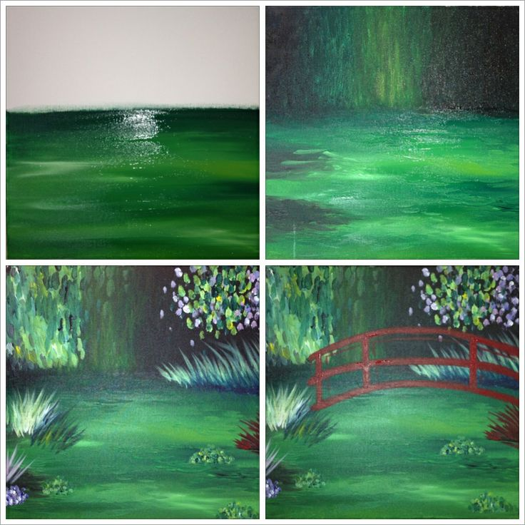 """The Evolution of """"Monet's Red Bridge""""  Painting with a Twist"""