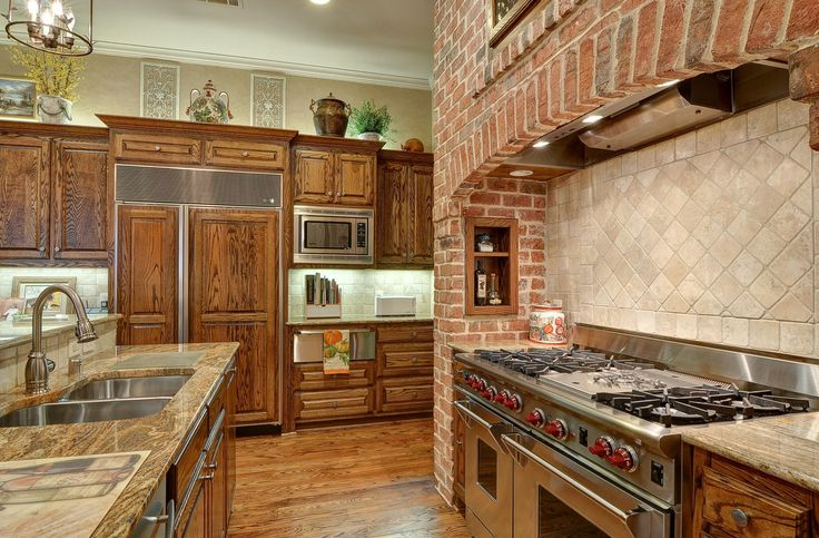 Stone Wall And Wooden Cabinet For Fantastic Home Kitchen Ideas