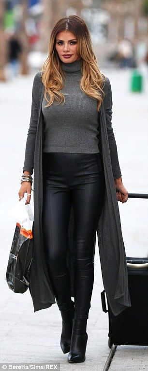 Where's the sarong? The 33-year-old reality star had opted for a cosy jumper, leather trou...