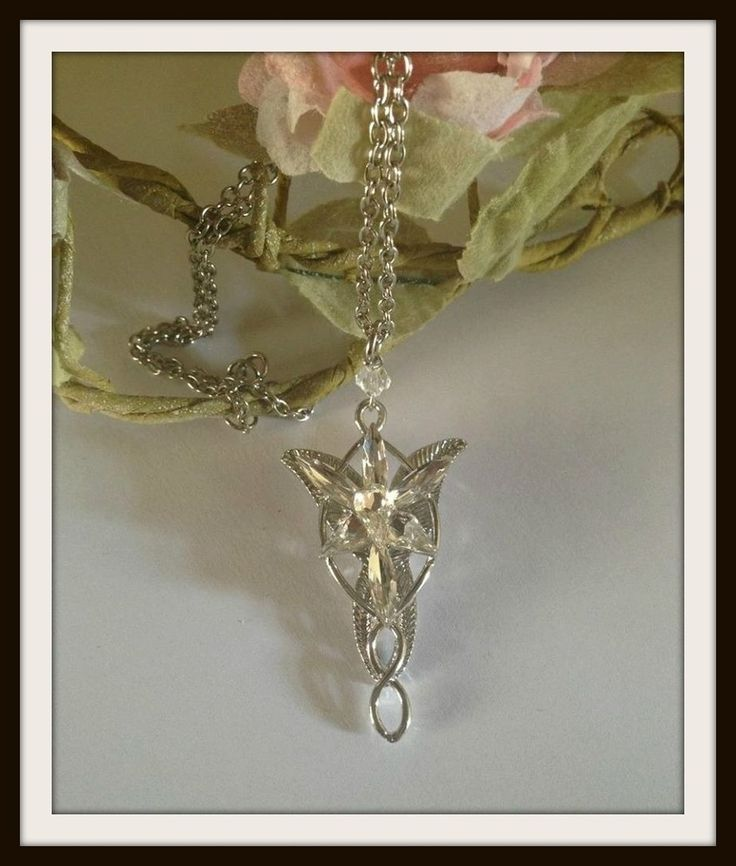 Stunning quality for a great price. Replica of the necklace worn by Arwen and given to Aragorn in The Lord of the Rings. Nickel free silver plated with crystal petal detail.We ship Royal Mail standard, and standard Airmail. These do NOT provide tracking. If you would like tracked shipping, please add this to your cart with this listing...http://curiology.bigcartel.com/product/shipping-upgrades