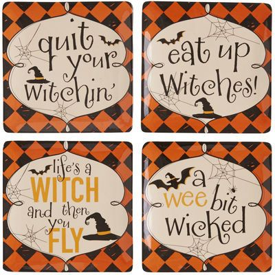 This amusing set of plates is ready to cast a spell over your Halloween gathering. Wicked phrases paired with a bold harlequin print backdrop deliver a fun approach to the spookiest of holidays. How bewitching.