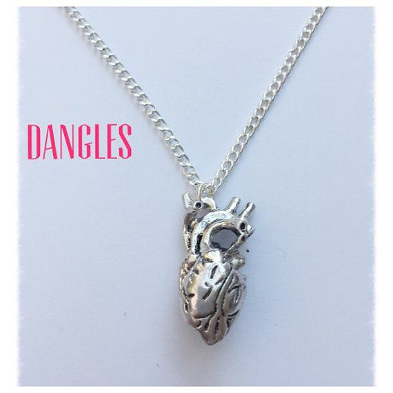 Anatomical Heart Necklace Ref DB1 by DanglesBoutique on Etsy