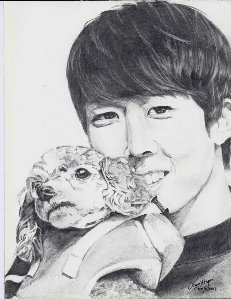 Lee Sungyeol ~ 이성열 He always looks so happy when he is with Ah-ga that I had to draw him with her