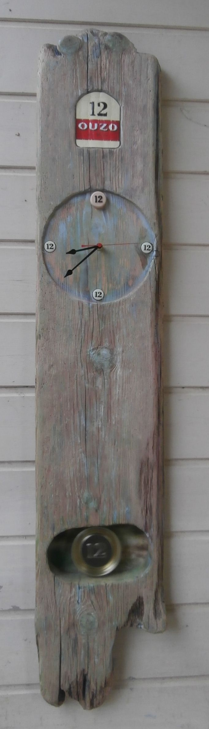 63 best driftwood upcycled clocks images on pinterest a sturdy wall hanging ouzo 12 themed clock a wonderful piece of driftwood amipublicfo Image collections
