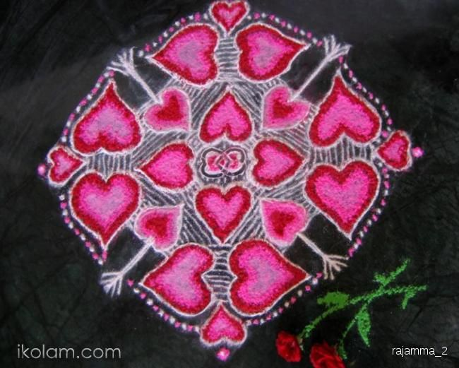 Rangoli of hearts and arrows - by Rajam. -iKolam.com