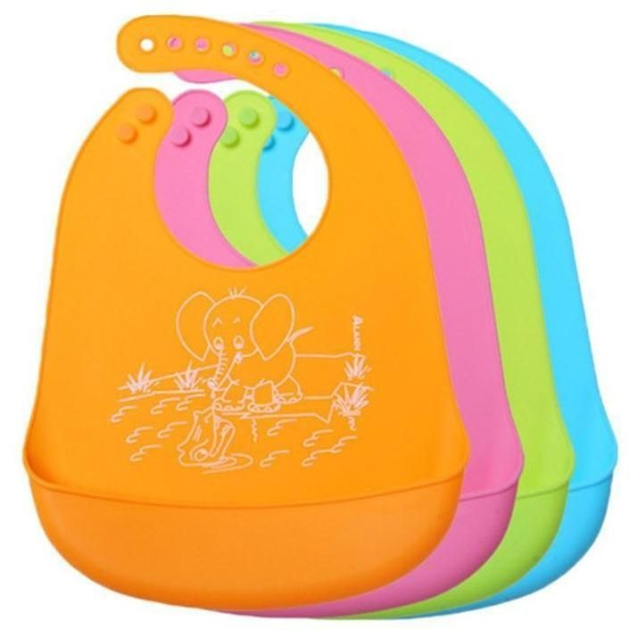 Trendy Waterproof Silicone Bibs For Babies  Rs. $10