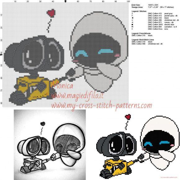 Wall E e Eve chibi cross stitch pattern