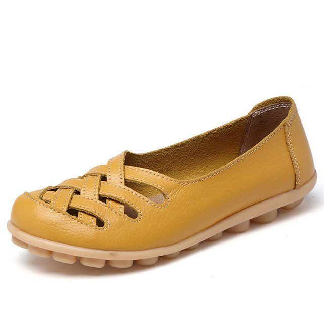 Happy Yellow Casual Comfy Smooth Shoes with Lattice Upper - Comfortabl – Nodule Shoe