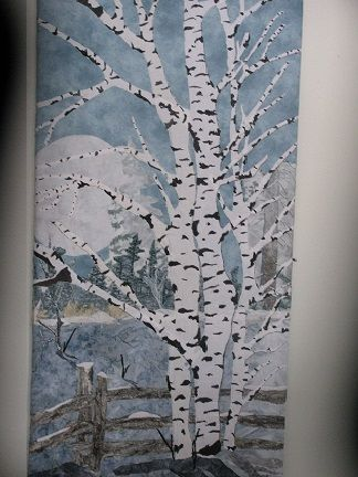 #Birch in a Field, landscape quilt 20x30 Fabric collage, mounted on canvas.  Created by Chris Allaway 12/16