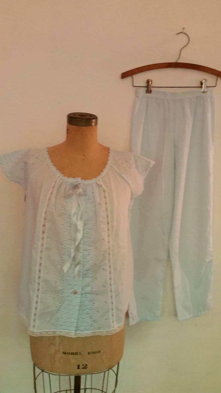 Ideal Vintage Pc Pajama Set Top Bottom Light Blue Cotton Blend Eyelet and Lace Design Summer Pajamas Made by Schrank Size Top Bottom by ZoomVintage on Etsy