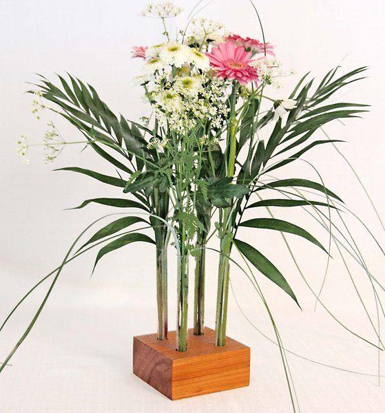 blumenvase holz mit 4 glaseinstzen quadratisch - Kopfteil Plant Holzbearbeitung