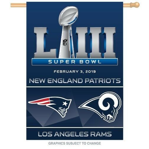 ce1b4a541 LOS ANGELES RAMS NEW ENGLAND PATRIOTS SUPER BOWL 53 DUELING 28 X40 FLAG  BANNER
